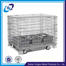 Folding Stackable metal wire basket carts with 4 wheels