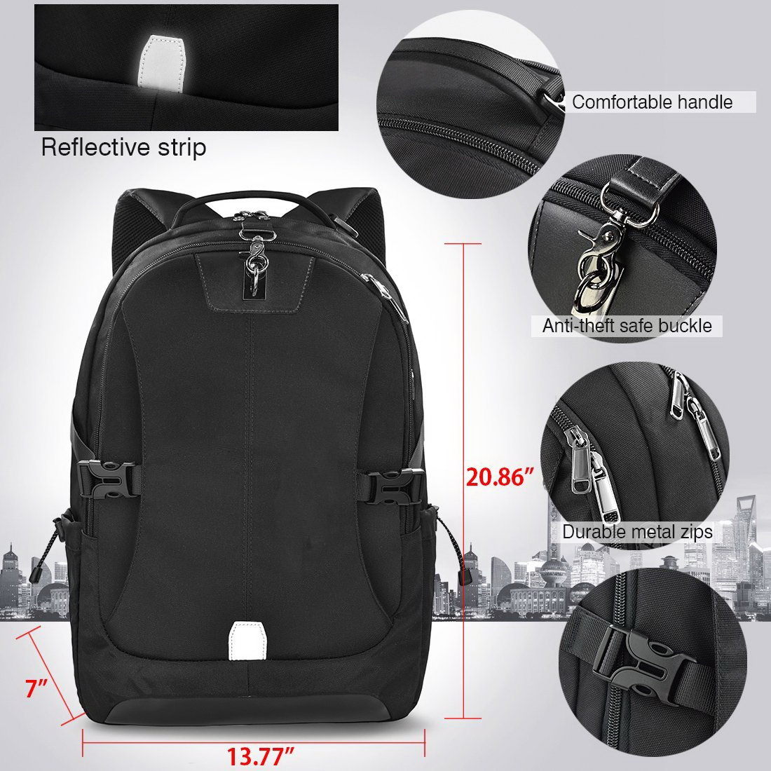 Custom new design waterproof reflective strip laptop backpack airflow back panel travel bag with USB charger