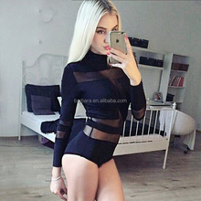 2017 Hot New Transparent Breathable Spring Sexy Long Sleeve Women Bandage Bodysuit