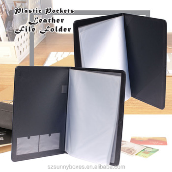 A4 Leather Frosted PP/PVC Pockets File Folder With Pen Holder