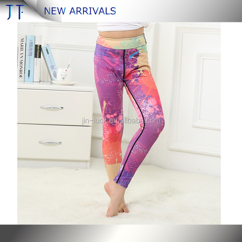 OEM Customized Stylish Unique Breathable Little Girl Kids Yoga Pants Fitness Wear