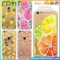 Case For Apple iPhone 4 4S 5 5S SE 5C 6 6s Plus 6Plus Soft Silicon TPU Transparent Fruit Pineapple Lemon Banana Thin Phone Cases