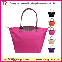 PU Handle Foldable Women Shopper Totes Bags Handle Folding Packing bags