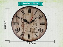 "M1207 12"" vintage metal wall clock Chinese factory supply"