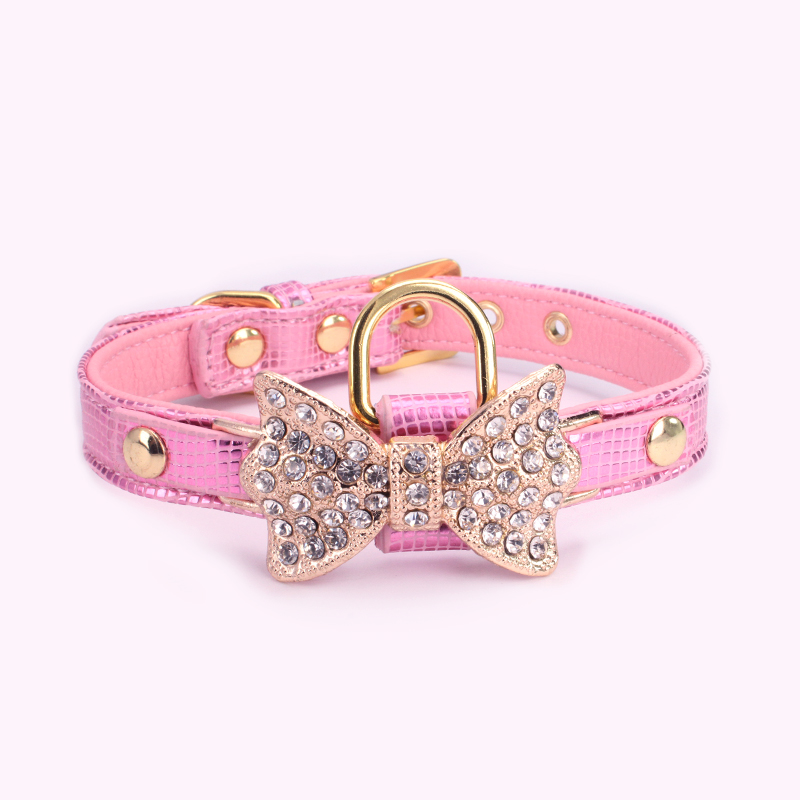 Fashionable Fake Bow Diamond Leather Bayer Dog Collar With Brand Tag