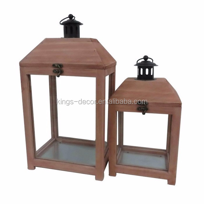 Set of 2 original wooden candle lantern with black metal top