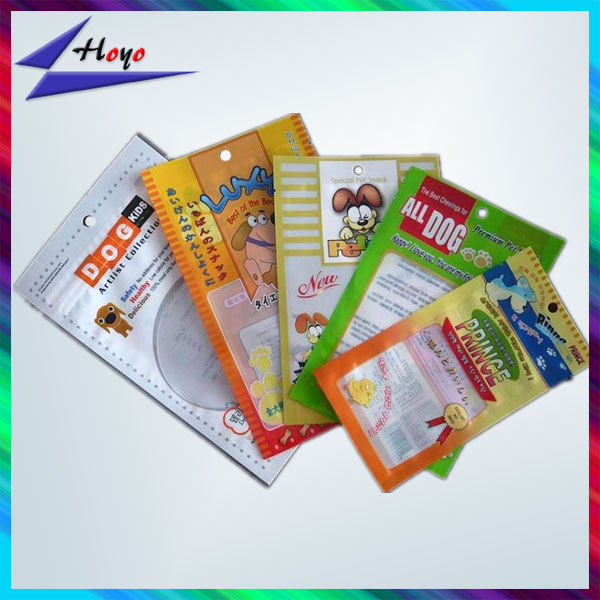 windowed printed pet food pouch heat seal packaging bag