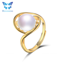 Hengsheng 2017 gorgeous gold color 925 solid silver fresh water pearl adjustable ring jewelry for women accesssory