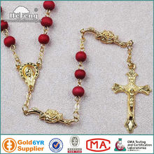 Beautiful Fairy Fatima Gold Plated Perfumed Wood Rosary Necklace