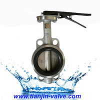 stainless steel handle with multiposition notch plate wafer butterfly valve