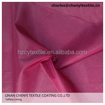 210t polyester taffeta lining fabric for cloth