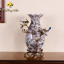 Chinese style decorative ceramic craft painting flower porcelain vase with bronze base