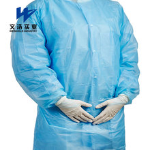 Factory Sale pe blue disposable medical isolation gown with Elastic Cuff