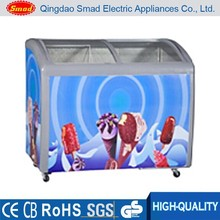 298l curved glass Popsicles Sliding Door Freezer