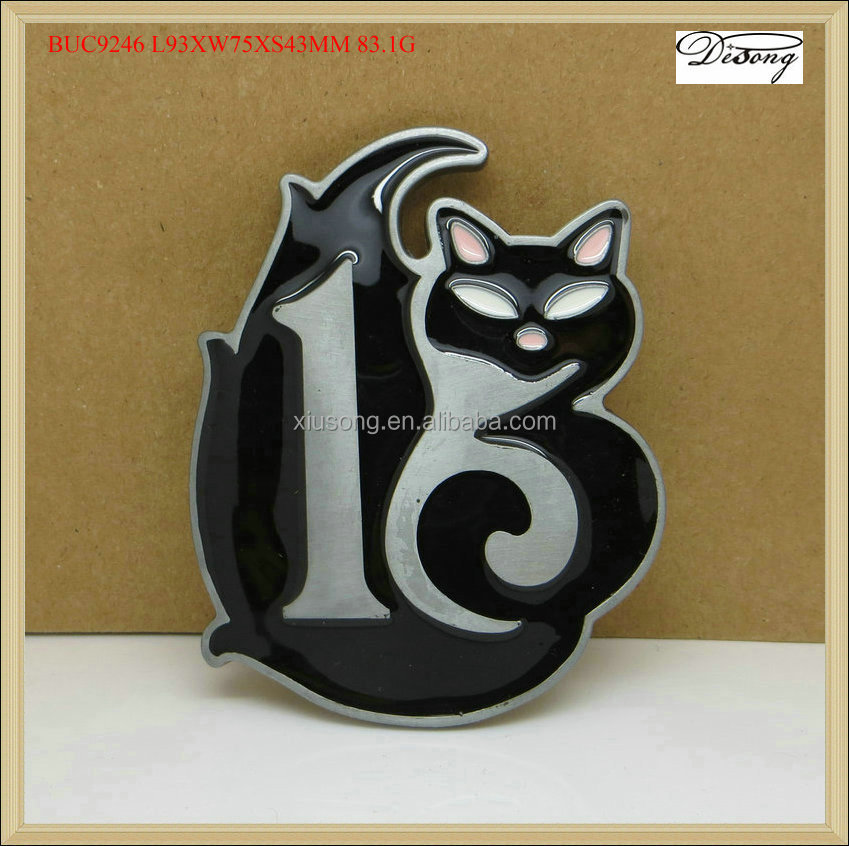 BUC9246 LUCKY SMART CUTE BLACK CAT MODERN TATTOO DESIGNER BELT BUCKLES