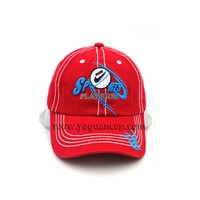 100% cotton 6 panel red heavy thread baseball sports caps