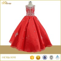 Organza red beaded floor-length princess ball gown dresses for girls of 11 years old