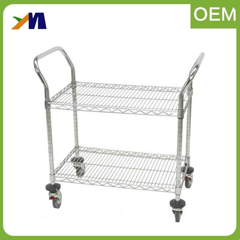 2 tier heavy duty electric workshop ESD 4 wheels storage movable slide pallet industrial cart for sale