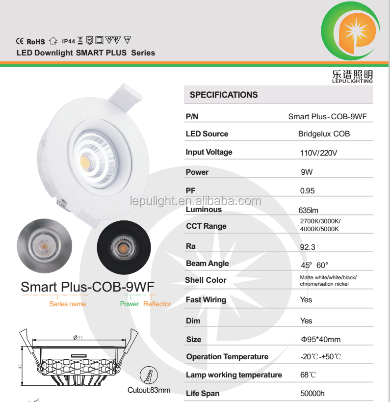 Ra92 normal dimmable led downlight 2700k/3000k/4000k CE Rohs NEMKO