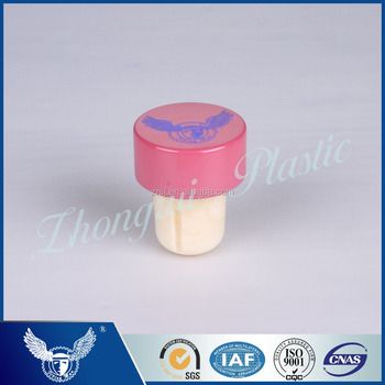 Latest design T-shaped pink color synthetic cork stopper for wine bottles