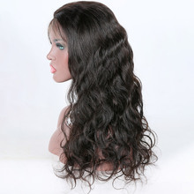 Wholesale cheap 18 inch body wave 100% percent natural human hair middle part lace front wig from Qingdao factory