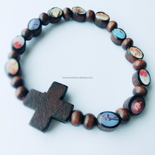 Huanan oem handmade religious wood coffee color rosary charm bracelet