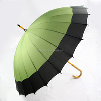 24 ribs large size wooden handle patio golf umbrella with cover