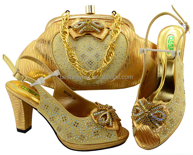 Nigeria party shoes and bags to match in women's dress