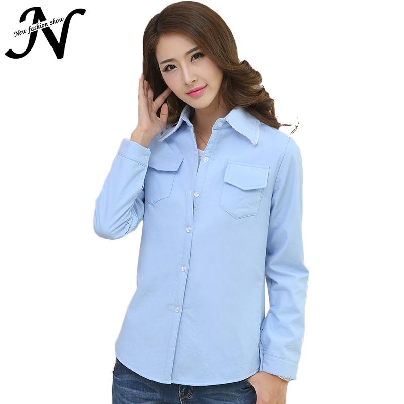 f40d849fa2c23 Women Shirts Long Sleeve Shirt White Pink Blue Purple Fashion 2015 Autumn  Winter Thicken Ladies Office