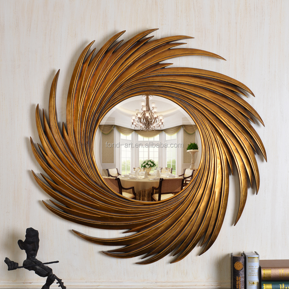 PU159 China Factory Antique Gold Sun Shaped Wall Mirror