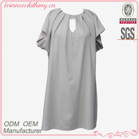 Lady casual dress/flare sleeve round neck decorated frill open front loose back zipper gothic clothing plus size
