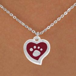 Lead, Nickel & Cadmium Free Silver Tone Silver And Red Paw Print Heart Charm Necklace Animal Necklace Jewelry