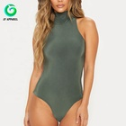 Wholesale Autumn Adult Women Top Khaki Sexy Double Layer Slinky Roll Neck Bodysuit