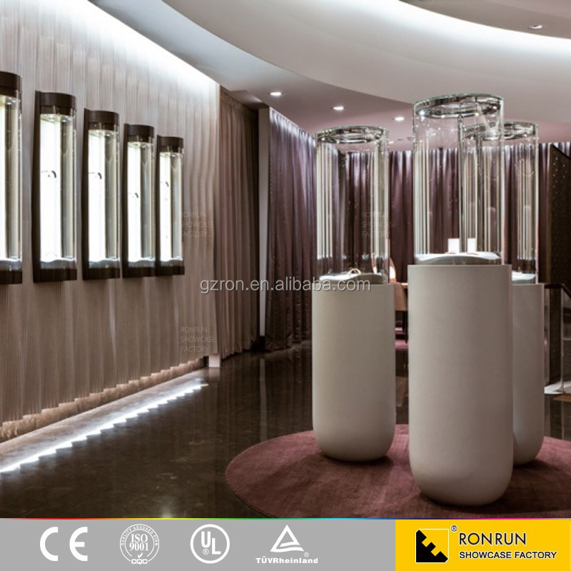 Newly design jewelry store interior custom made glass jewelry display case and display stand