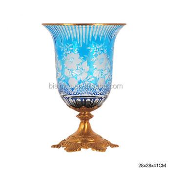Antique Cobalt Blue Decorative Enamel Glass Vase Noble Colored
