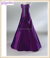 purple A-line sweetheart neckline beaded ruched taffeta evening dresses women