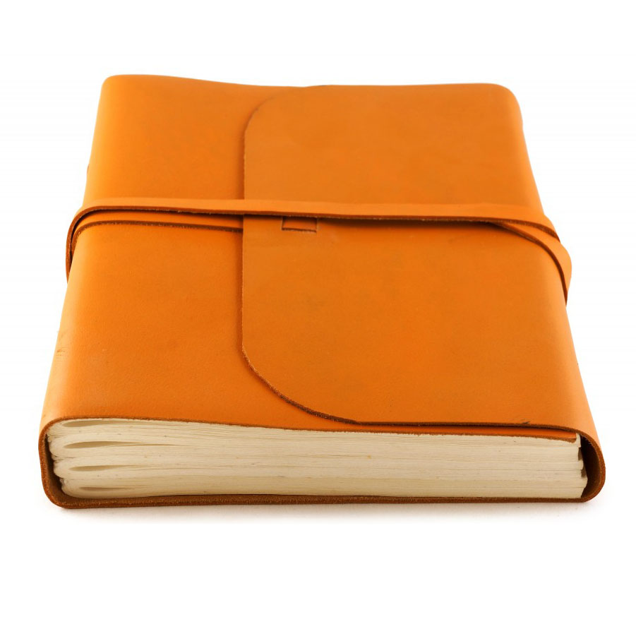 Elegant handmade personalized leather notebook amber orange large strap closure genuine leather journal cover