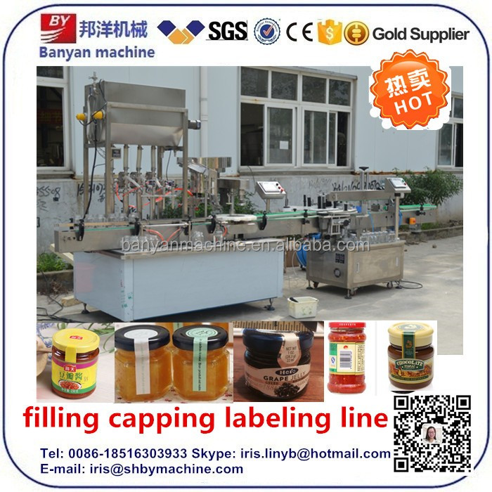 Automatic glass jar barbecue sauce/chocolate sauce/thick sauce filling capping machine