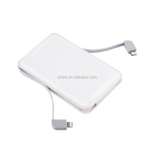WEWO portable simple style ultrathin 5000mAh power bank with two cable