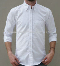 Mens white button down collar oxford dress cotton shirt man with one chest pocket