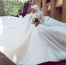 Custom Made Luxury Muslim Satin Wedding Dress Embroidered A-line Bridal Dresses