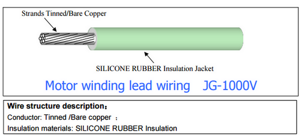 JG-1000v silicone rubber cable for Motor winding lead wiring
