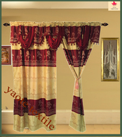 luxury jacquard lining curtain with valance
