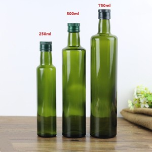 Tall round 250ml 500ml 750ml 1000ml dark green glass olive oil bottle with insert cap