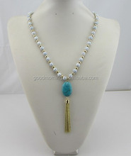 New design fashion women accessories handmade long wooden beads & turquoise beads pendant tassel necklace
