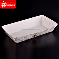Custom printed disposable fast food serving paper hot dog trays