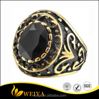 2016 Gypsy Style Ancient Black Carving Vintage Men's Stainless Steel Ring with Gold Agate