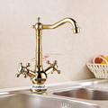 PVD gold plating kitchen faucet sink tap with dual handles , ceramic base
