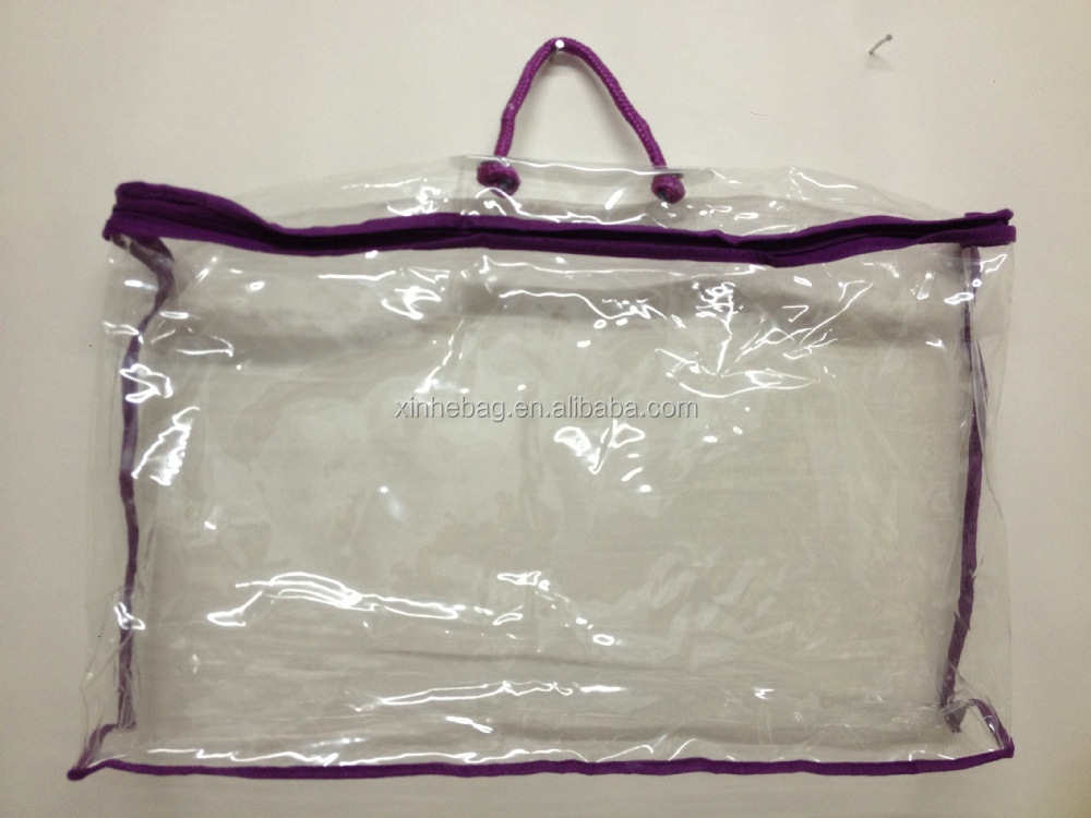 transparent with zipper pvc bag