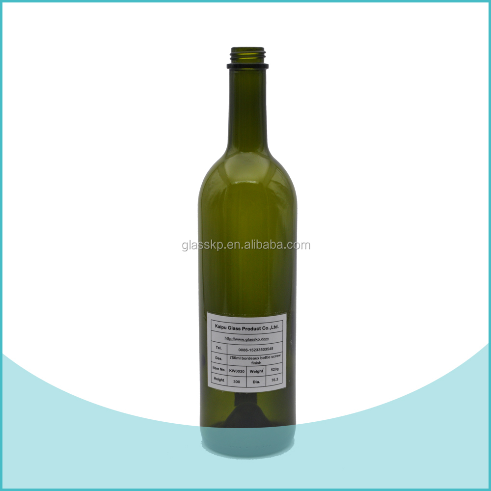 Factory Price for Antique Green 750Ml Drink Wine Bottles Wholesales in Korea With Screw Cap Finish